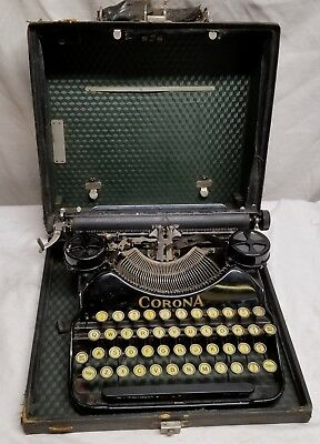 Vintage -Corona Four -Typewriter, With Case - Black - Tested - Works Well - READ