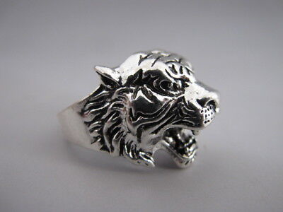 China old Tibetan silver hand made Chinese Zodiac tiger statue finger ring RN033