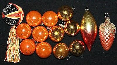 VINTAGE Group of 14 Ornaments, Orange Yellow Gold, Germany USA Shiny Brite