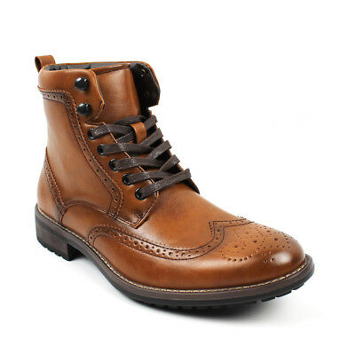Men's Ankle Dress Boots Wing Tip Lace Up Leather Luciano Santino Shoes B742
