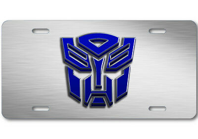 Transformers Autobot Stone logo Aluminum Car Truck License Plate Tag Steel Blue