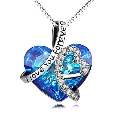AOBOCO Sterling Silver I Love You Forever Heart Pendant Necklace with Blue Swaro