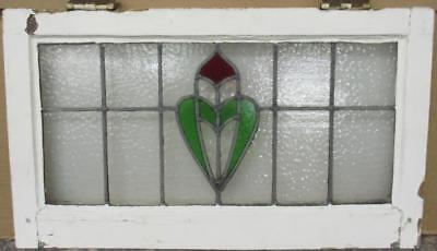 """MID SIZED OLD ENGLISH LEADED STAINED GLASS WINDOW Abstract Shield 26"""" x 15"""""""