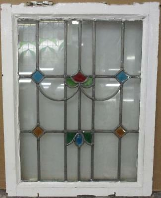 "MID SIZED OLD ENGLISH LEADED STAINED GLASS WINDOW Colorful Jewels 18"" x 23"""