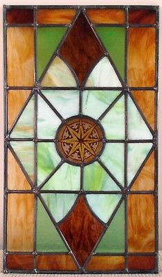 Antique English-Kiln Fired Center Victorian Stained Glass Window .18.5 X 26