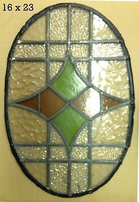 """ENGLISH ANTIQUE VICTORIAN GLASS. STAINED GLASS WINDOW SALVAGE. 23""""H x 16""""W"""