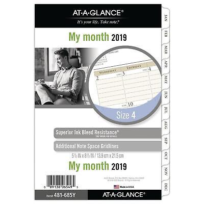 """AT-A-GLANCE 2019 Monthly Planner Refill, Day Runner, 5-1/2"""" x 8-1/2"""", Desk Size"""