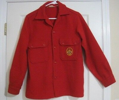 Vintage Boy Scouts Of America Official Jacket Patch Red Wool Blend Sz 18 Sm
