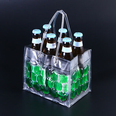 6 Bottles 350ml Wine Bottle Chill Cooler Can Beer Gel Carrier Freeze Bag (Green)