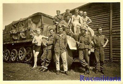 SUPER! Group Wehrmacht Soldiers Posed w/ SdKfz Halftrack by House; Russia!!!