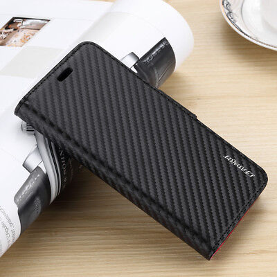 Carbon Fiber Leather Flip Wallet Case Cover For iPhone 8 Plus XR XS MAX Samsung