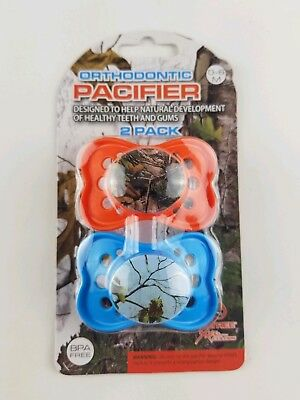 Blue/Orange RealTree Orthodontic Camo/Camo Pacifier 0-6 Months 2 Pack. B11.