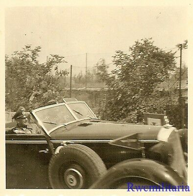 **RARE: Wehrmacht General Passing in Convertible Staff Car on Road!!!**