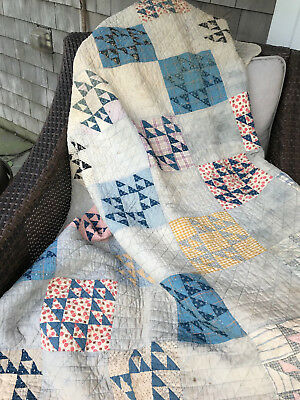 Antique Quilt Flying Geese Hand Stitched and Quilted