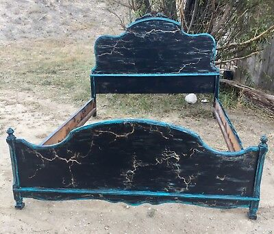 Antique Satinwood Full Size Victorian Bed Frame