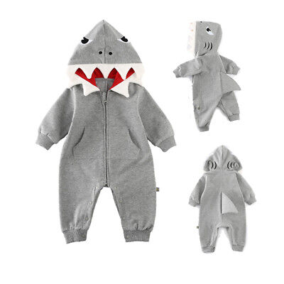 AU Newborn Baby Boy Girls Shark Romper Bodysuit Jumpsuit Playsuit Outfit Clothes
