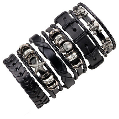 6x/set Men's Vintage Skull&Star Punk Multilayer PU Leather Braided Bracelet Gift