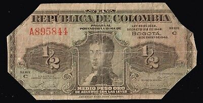 Columbia Currency  Paper Money Bank Note 1938 1/1 Peso