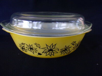 Retro Yellow Pyrex Lidded Casserole Dish