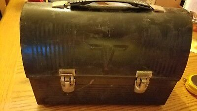 Vintage THERMOS Black 'V' Dome Top Steel Metal Lunch Box Pail ..With Thermos !!!