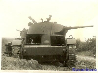 Port. Photo: HATCHES UP! KO'd Russian T-26 Panzer Tanks on Road; NEWEL 1941!!!
