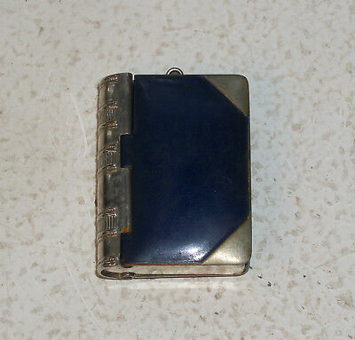 Old Blue Enamel Match Holder Book Form - Circa 1910s - 1920s  RARE