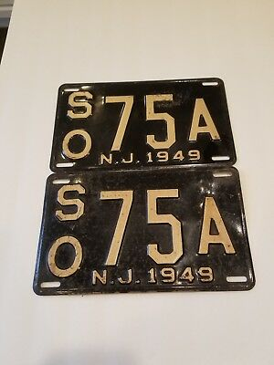 1949 New Jersey Matched PairLicense Plates,Heavy Gauge Steel,# SO75A