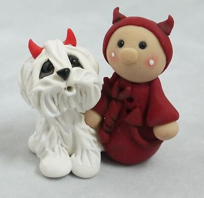 Lil Devil Halloween Pup Trick Or Treat Spook Collectible Dogs Figurines Pup OOAK
