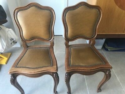 2 French style leather chairs