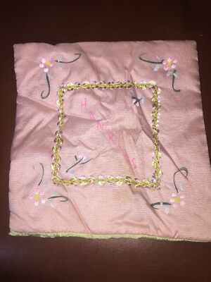Antique Silk Hand Painted Padded Hankie Holder Pink And Lime Green Mint