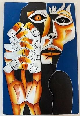 Folk Art Oswaldo Guayasamin 'MIEDO' Handmade Painting Sculptures Wall Sculpture