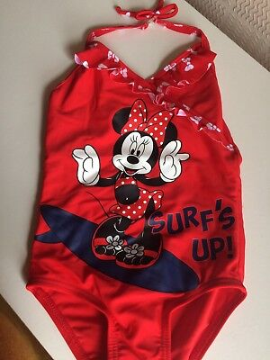 New Baby Girl 12-18 Months Minnie Mouse Red Swimming Costume Summer Holiday