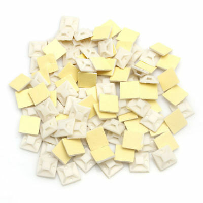 White Self Adhesive Cable Tie Wire Zip Clamp Mount Clip Holder Base 100Pcs/Bag