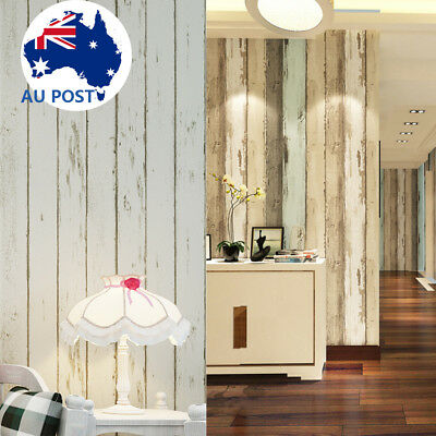 Wall Paper Realistic 3D Wood Optic Panelling Plank Stripe 10M Roll Home Decor AU