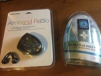 """Two NEW items!/Memorex Armband Radio & 4GB MP3 Player w/ 1.8"""" Color screen!"""