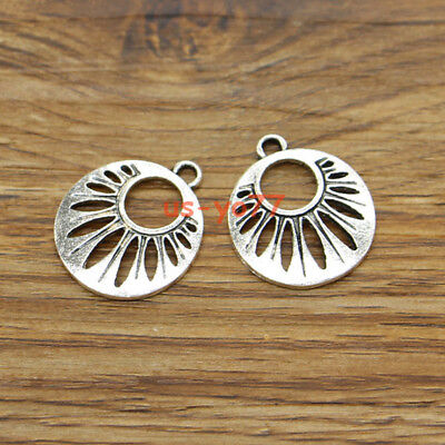 20 Circle Charms Round Disc Earring Charms Hollow Out Antique Silver 19x22 3400