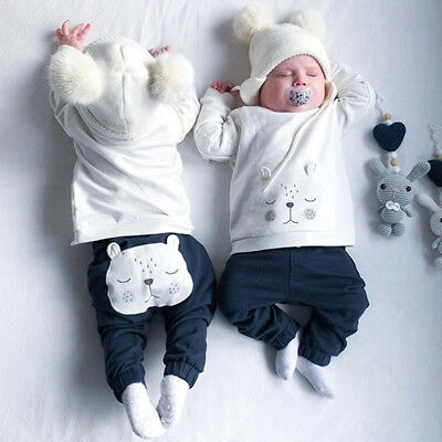 Newborn Baby Boys Girls 3D Bear Warm Tops Sweater Long Pants Outfits Clothes Set