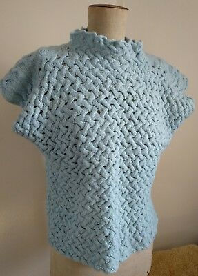 Vintage Handmade Knit Top Baby Blue Pure Wool S-L