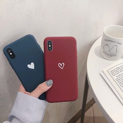 Cute Simple Love Heart Shockproof TPU Case Cover For iPhone 6 7 8 X XS Max XR