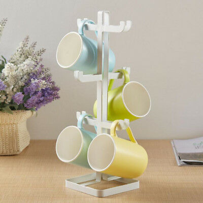 White Metal Strong Wine Glass Hanging Holder Cup Space Saving Storage Rack