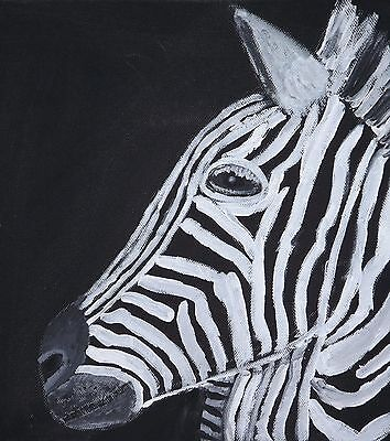 Original Acrylic Painting on canvas - Zebra - black and white art 10 x 10 SALE
