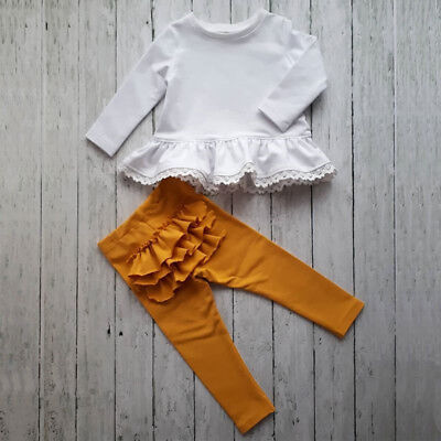 US Stock Newborn Kids Baby Girls Lace Ruffle Tops Dress Leggings Outfits Clothes