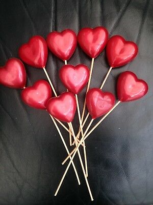 100 Red Hearts (Plastic) On Sticks For Floristry/crafting/wedding/party