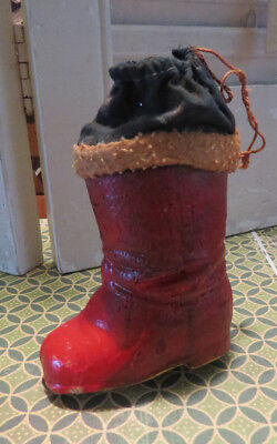 Vintage Christmas ornament santa boot Germany German paper mache container