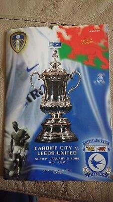 Cardiff city v Leeds United 6th Jan 2002 with ticket famous Cardiff win nr mint