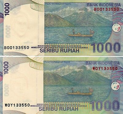INDONESIA 1000 Rupiah 2016 & 2013 P141 Matching Serial 133550 x 2 UNC Banknotes