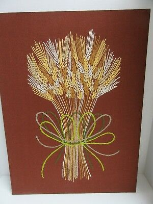 Finished Crewel Embroidery Harvest Wheat Bouquet Vintage 70s Completed 18x24