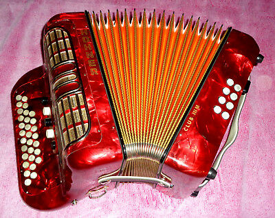 Top Made In Germany Hohner C/f Club Iii M Diatonic Button Accordion Case Straps