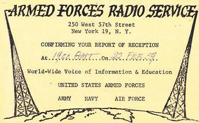 1959 QSL: AFRS Armed Forces Radio Service, New York, USA