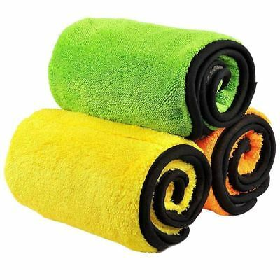 2X(Car Drying Towel Dual Layer Ultra-Thick Microfiber Polishing Waxing Dryin B1)
